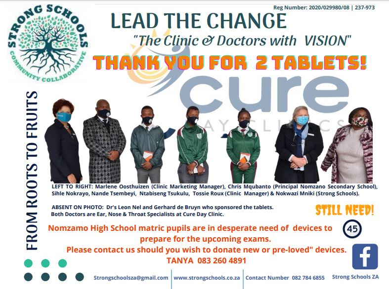 Strong Schools Cure Clinic Tablet Hand Over August 2020